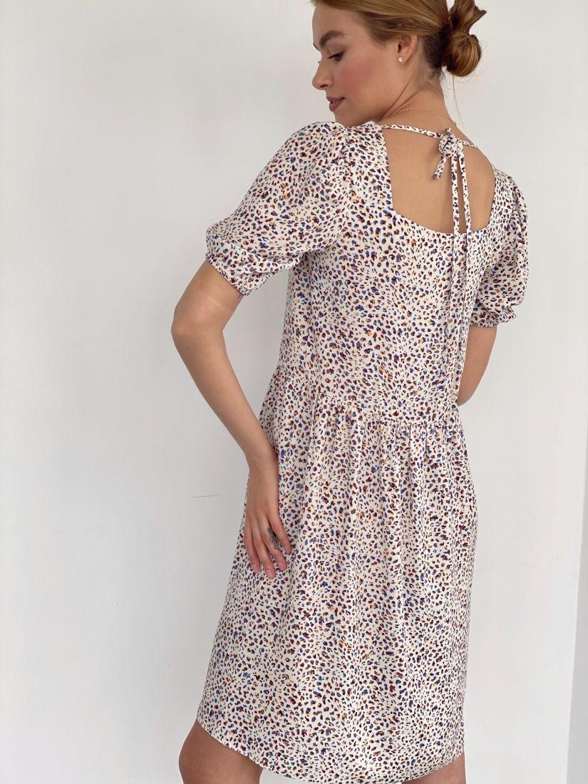 4192 Платье с квадратным декольте белое с разноцветными камешками