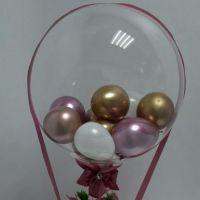 Букет из мыльных роз в шляпной коробке с шаром