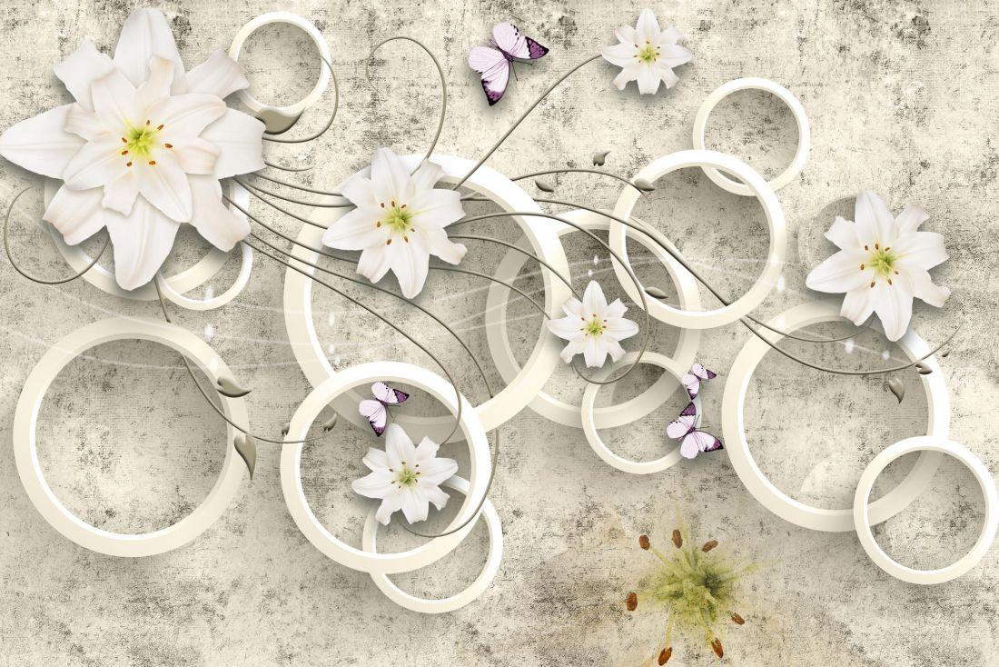 Белые лилии и бабочки 6-163