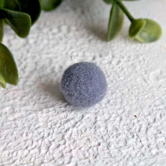 Кукольная миниатюра - Помпон серый 1,3 см. комплект 5 шт.