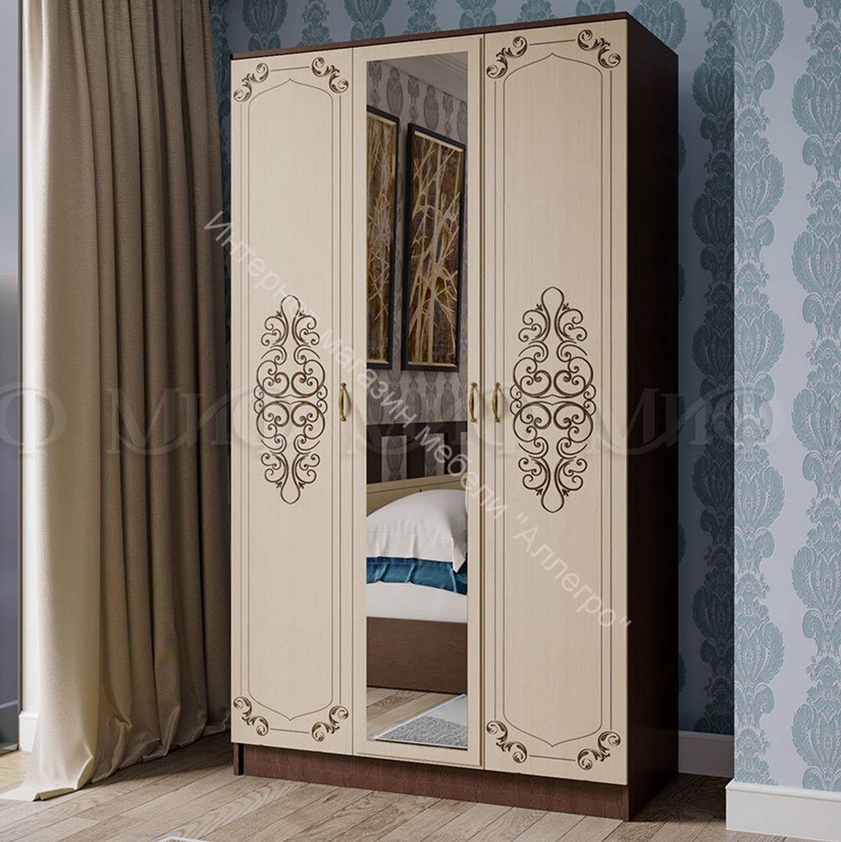 Шкаф  Жасмин 3-х створчатый с зеркалом