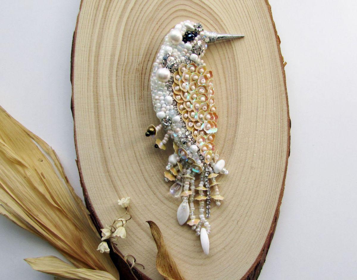 Брошь Птичка «Невеста-2» с жемчугом