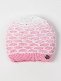 00-0020629  Шапка вязаная для девочки, соты, круглая нашивка R, светло-розовый