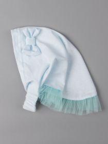 00-0021289  Косынка трикотажная для девочки с рюшами и бантиком на резинке, голубой