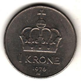 Норвегия 1 крона 1976 АВ