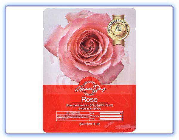 Маска для лица с экстрактом розы Grace Day Rose Cellulose Mask