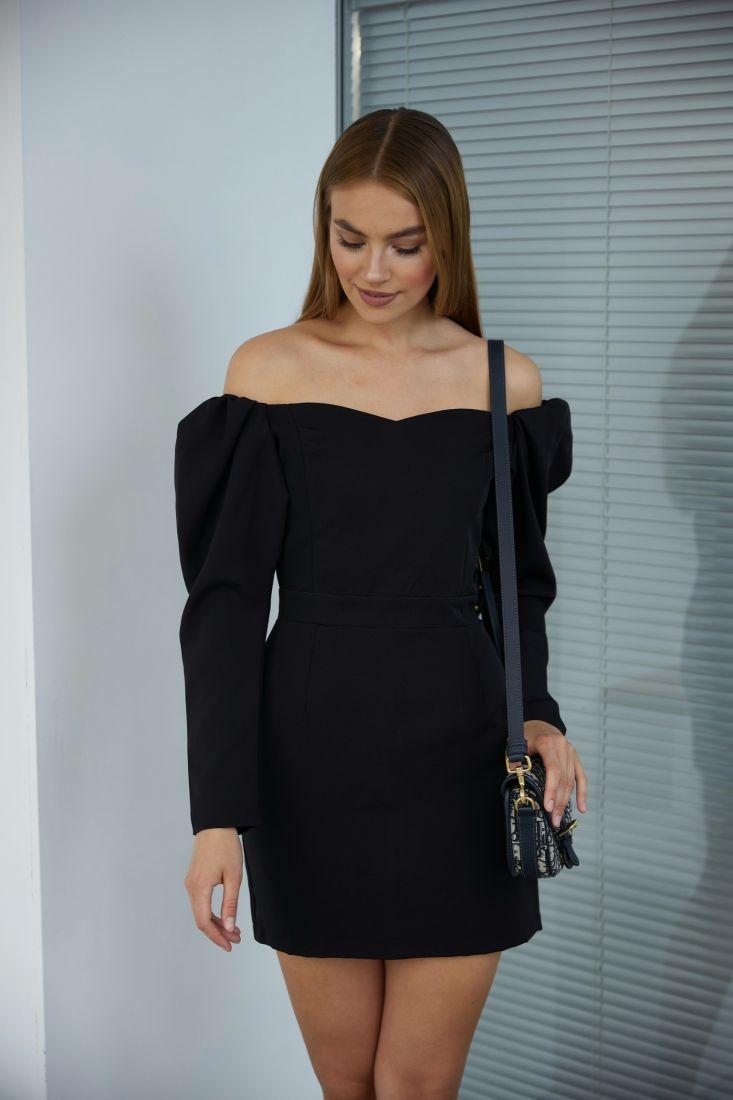 3250 Платье-мини чёрное с открытыми плечами