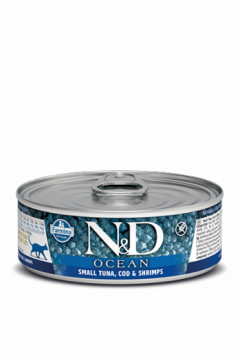 N&D CAT OCEAN TUNA, COD & SHRIMP (Тунец с Треской и Креветками для кошек) 80г.