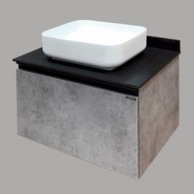 Тумба-умывальник Comforty  Эдинбург-75 бетон светлый с черной столешницей, с раковиной COMFORTY T-Y9378