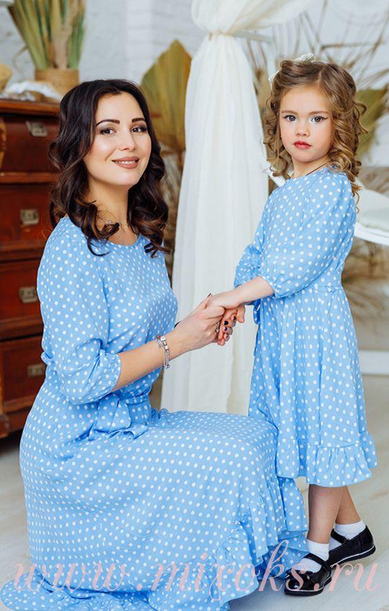 Платья летние в горошек из хлопка для мамы и дочки