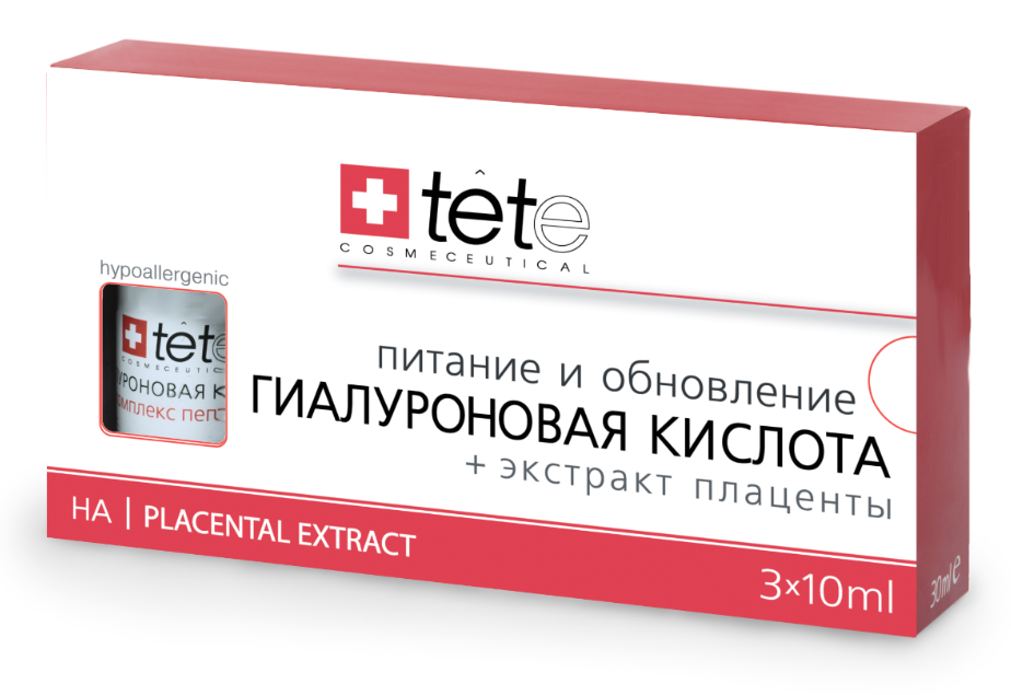 Гиалуроновая кислота и экстракт плаценты Tete cosmeceutical (Тете косметик) 3*10 мл