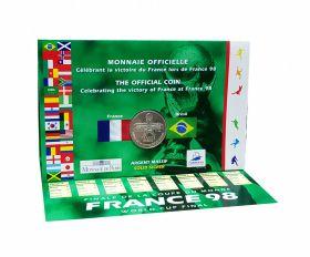 """Франция 1998 год 5 франков """"ЧМ по Футболу Франция 1998"""" Серебро Ag 900 Буклет"""
