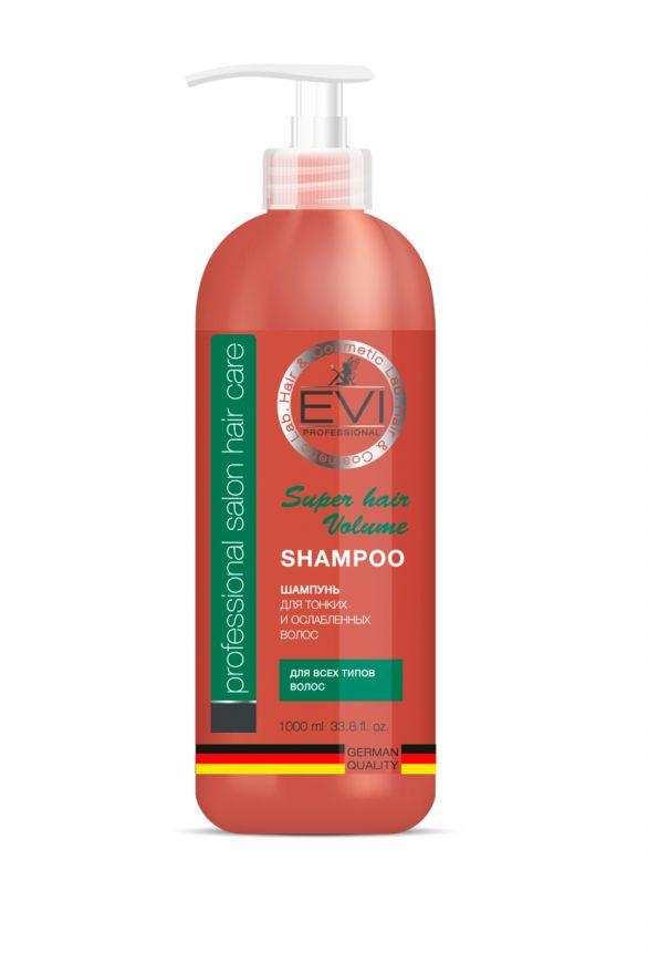 Шампунь «Объем и сила» для тонких и ослабленных волос,  1000 мл. «EVI»