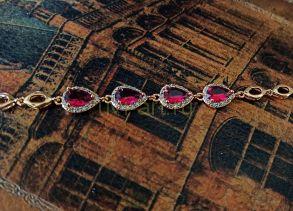 Позолоченный элегантный браслет с искусственными рубинами (арт. 250338)