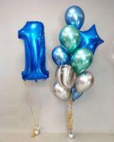 Букет из шаров на 1 годик Синий хром