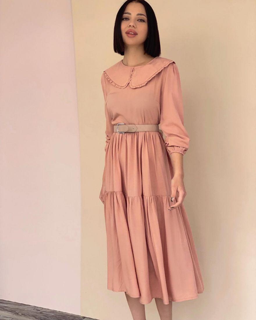 4289 Платье в ретро-стиле в тёплом розовом цвете