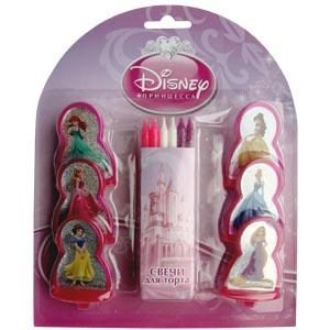Принцессы Диснея набор свечей с 6 пластиковыми фигурками
