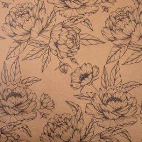 "Бумага упаковочная крафтовая ""Контурные цветы"" 50х70 см упак 10 лист"