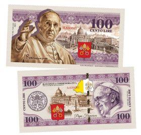 100 Cento Lire(лир) - Ватикан. Папа Римский - Франциск (Papa Francesco). Памятная банкнота. UNC