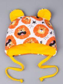 00-0023798  Шапка трикотажная для девочки на завязках с ушками, львята, оранжевый