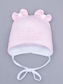 00-0026159  Шапка трикотажная для девочки на завязках, ушки-бантики, Baby, светло-розовый