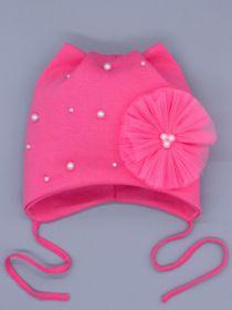 00-0026468  Шапка трикотажная для девочки с ушками на завязках, бусины и бант из фатина, фуксия