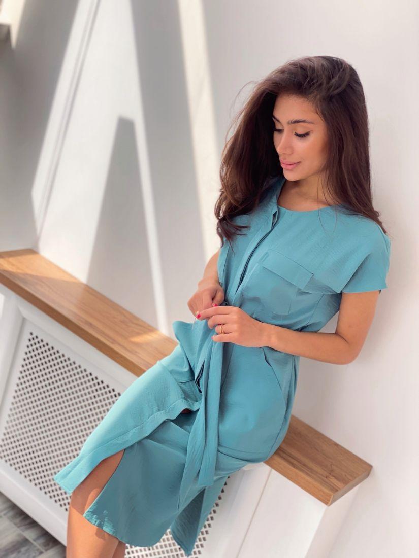 4309 Платье-рубашка серо-голубое