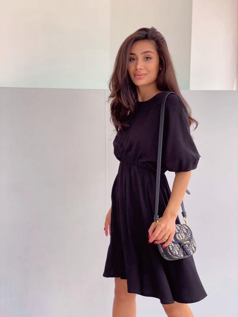 4315 Платье с акцентом на талии чёрное
