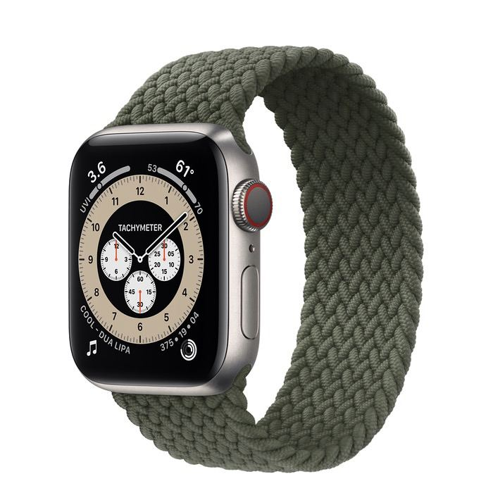 Часы Apple Watch Edition Series 6 GPS + Cellular 40mm Titanium Case with Inverness Green Braided Solo Loop