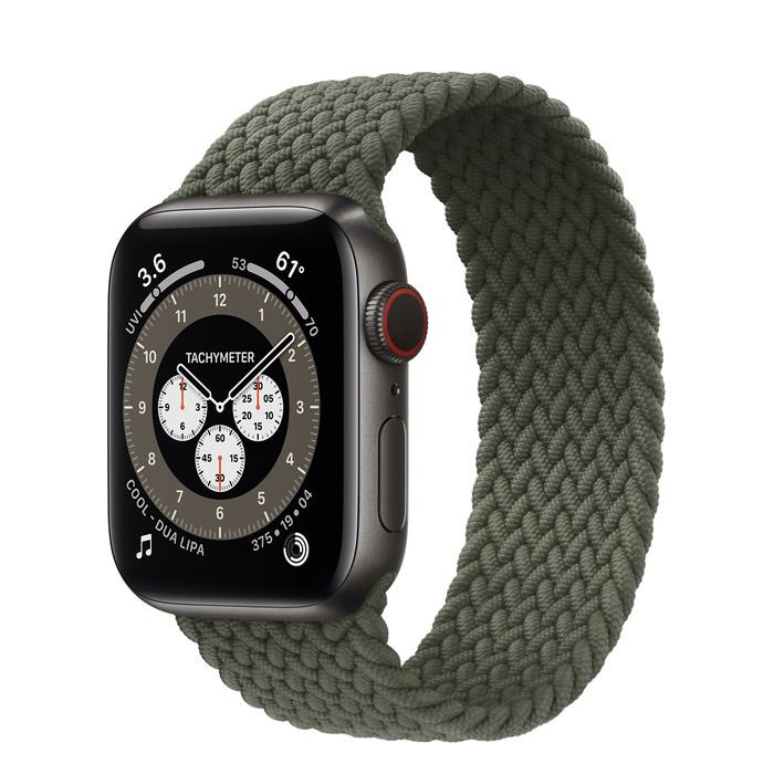 Часы Apple Watch Edition Series 6 GPS + Cellular 40mm Space Black Titanium Case with Inverness Green Braided Solo Loop