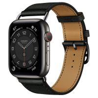 Часы Apple Watch Hermès Series 6 GPS + Cellular 44mm Space Black Stainless Steel Case with Noir Swift Leather Attelage Single Tour