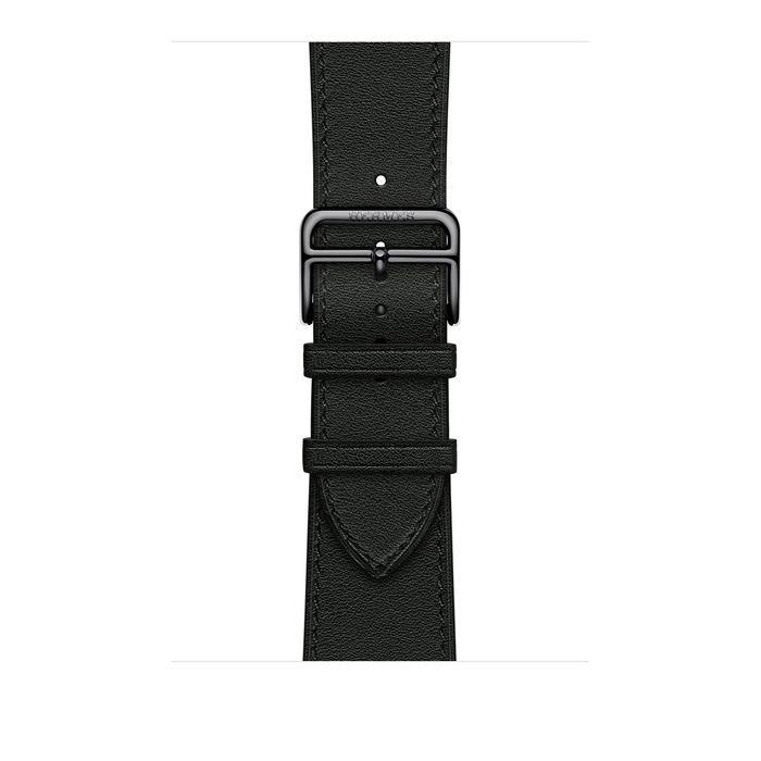 Ремешок Apple Watch Hermès Noir Swift Leather Attelage Single Tour из кожи (для корпуса 44 мм)