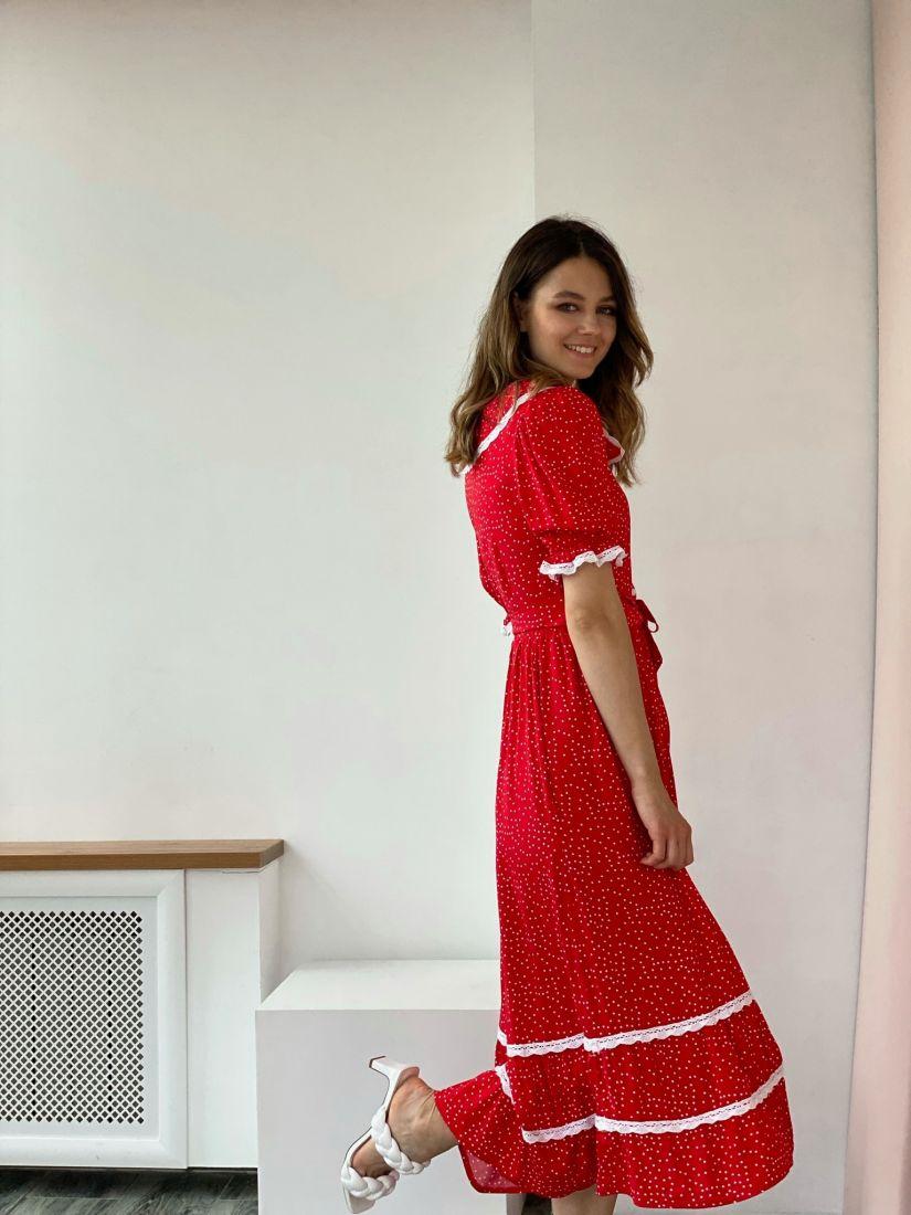 4322 Платье в ретро-стиле красное в горошек