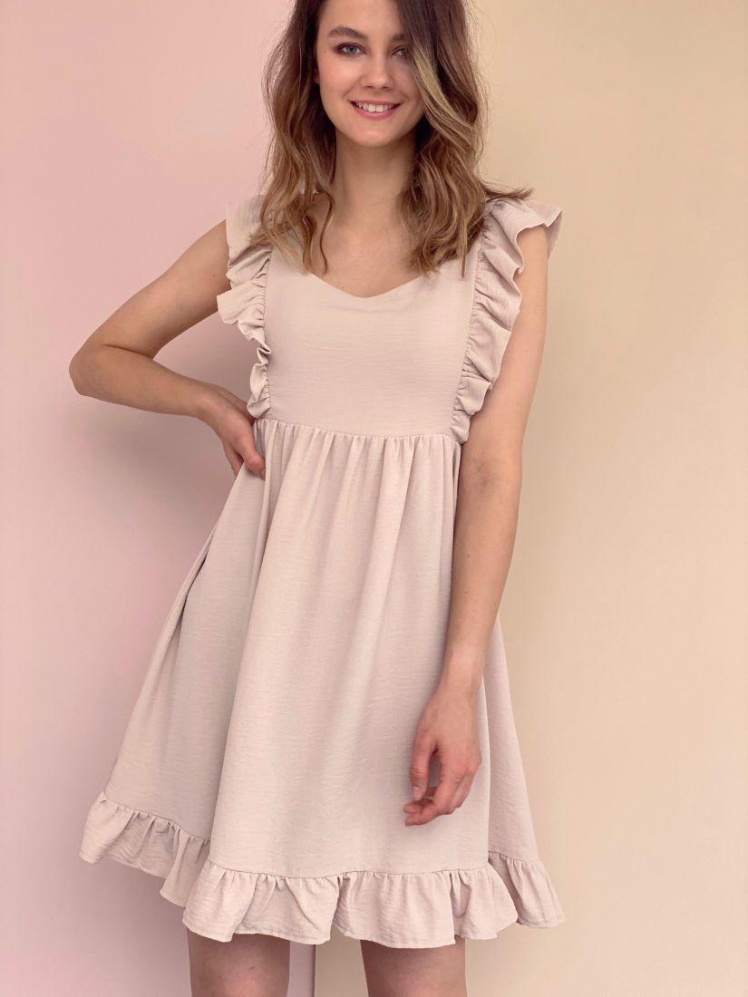 4328 Платье бежевое в стиле babydoll