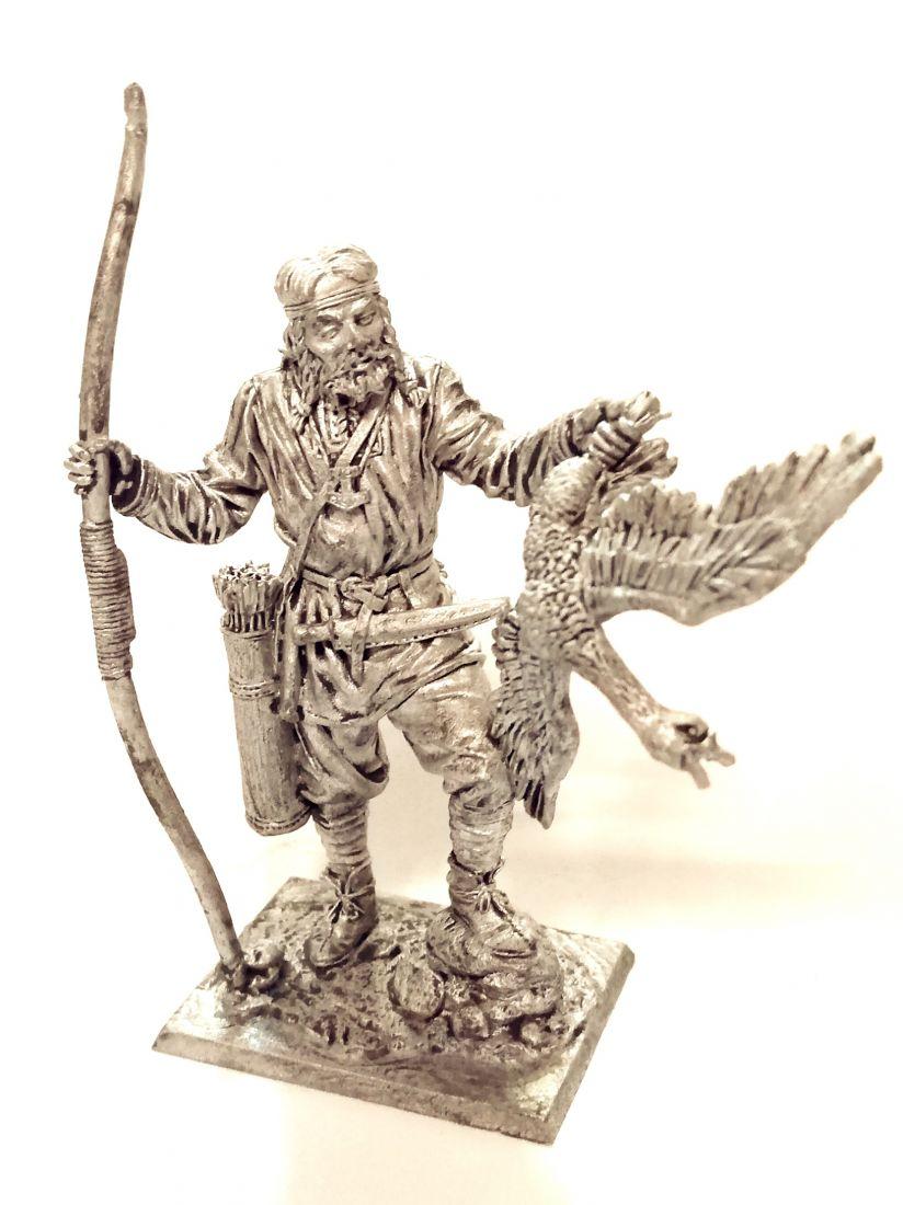 Фигурка Викинг-лучник с гусем, 9-10 век олово