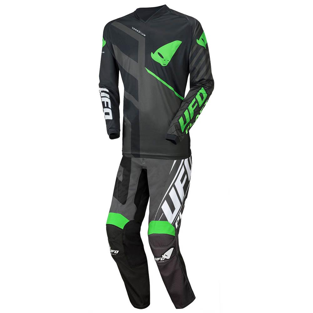 UFO Vanadium Black/Neon Green джерси и штаны для мотокросса, черно-серые