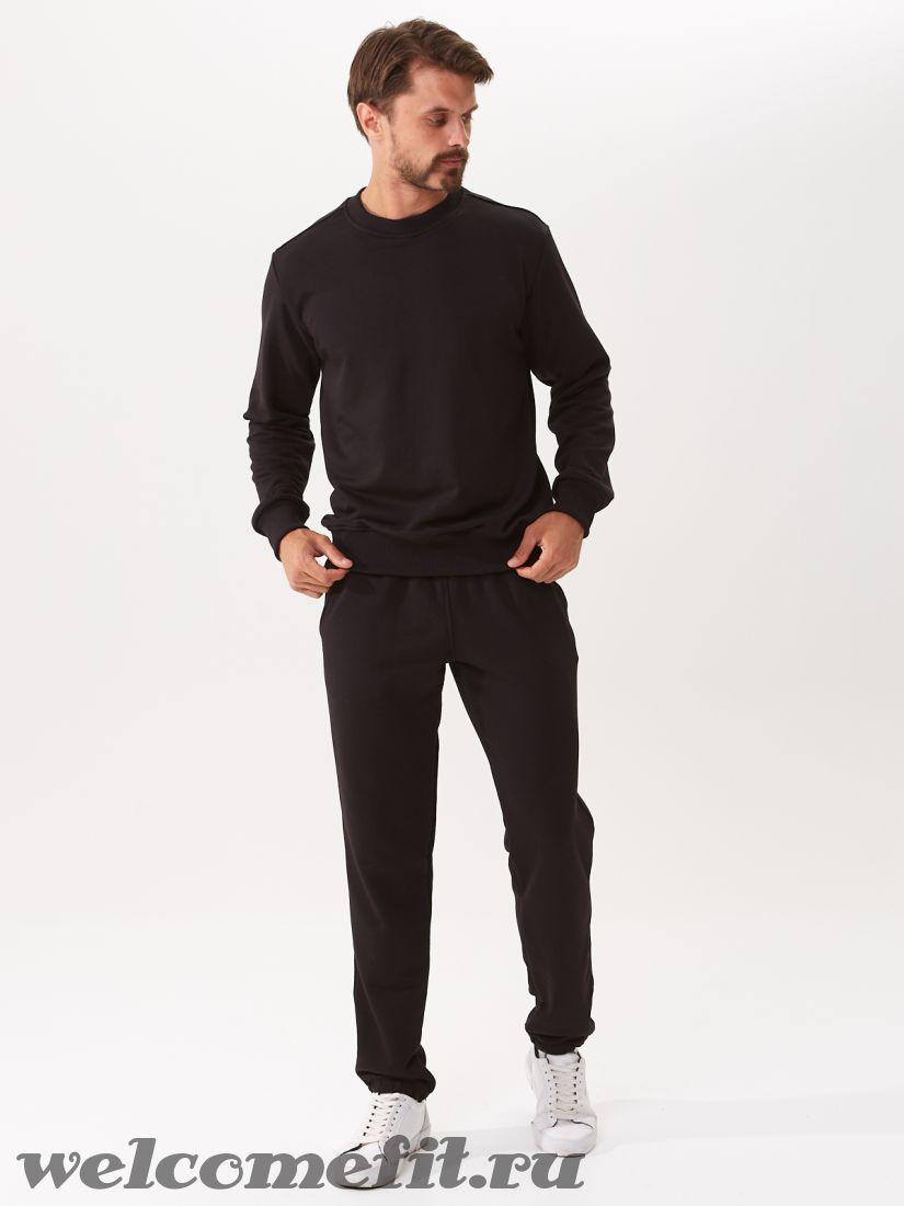Костюм свитшот и брюки мужской - чёрный