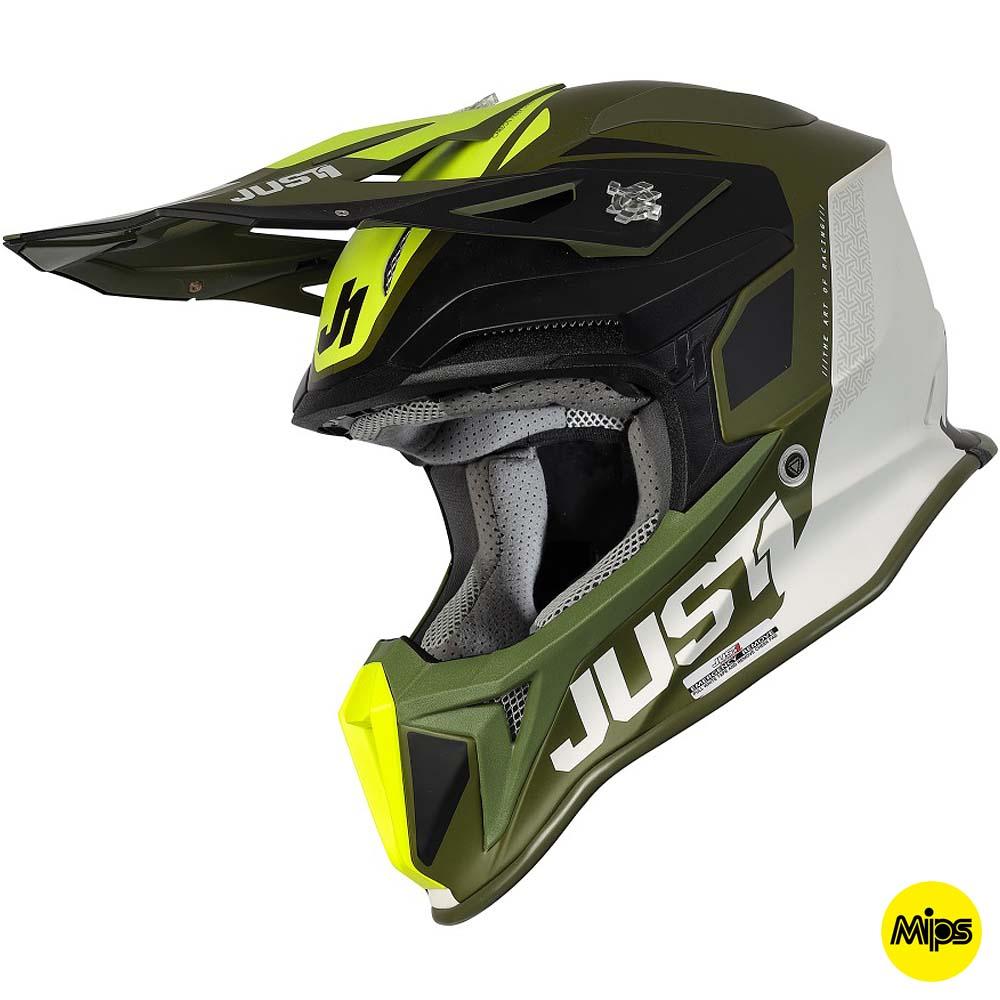 Just1 J18+MIPS Pulsar Army Green Black White шлем для мотокросса и эндуро