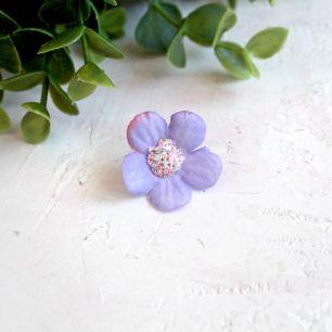 Цветок тканевый Незабудка сиреневая 2 см