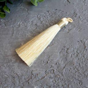 Кисточка декоративная, кремовая 8 см.