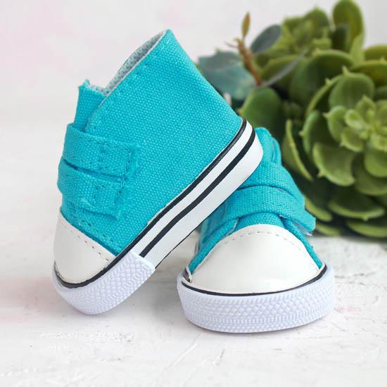 Обувь для кукол кеды на липучках 7 см  -  голубые