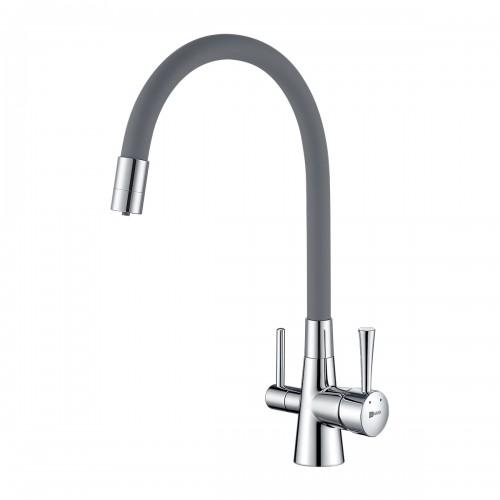 Смес кухня 40мм LEMARK 3075С-Gray Комфорт с гибким изливом,с подключ к фильтру, хром/серый