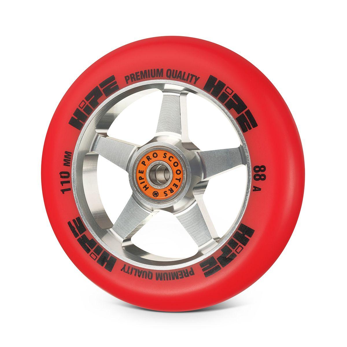 Колесо HIPE H09 110мм серебристый/красный