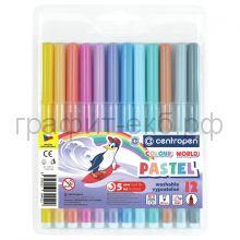 Фломастеры 12цв.Centropen Colour World Pastel трехгранные смываемые 7 7550 1287
