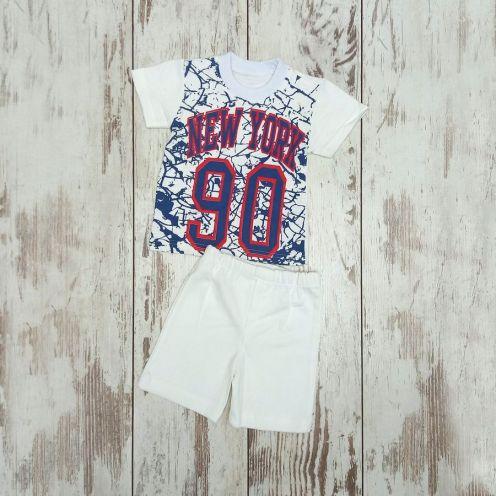 Костюм NY 90 белый: футболка, шорты