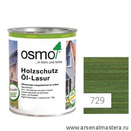 Защитное масло - лазурь для древесины для наружных работ OSMO Holzschutz Ol-Lasur 729 Темно-зеленое 0,75 л