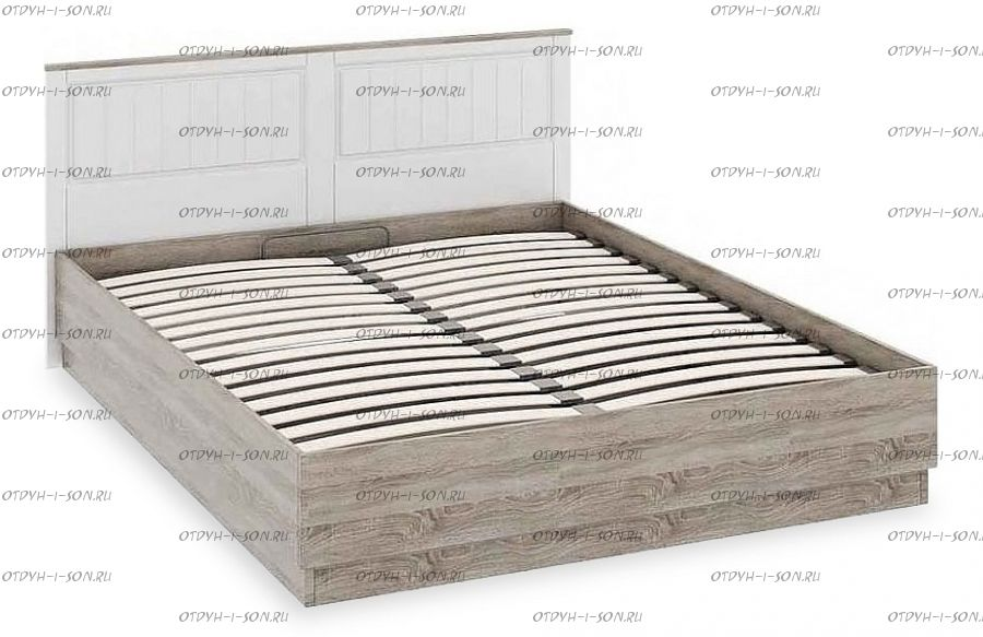 Кровать Прованс СМ-223.01.002 с подъемным механизмом (1600) Дуб Сонома трюфель/Крем