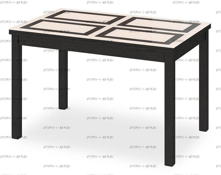 Стол обеденный раздвижной со стеклом Диез Т11 С-343 Венге/дуб миланский стекло с рисунком