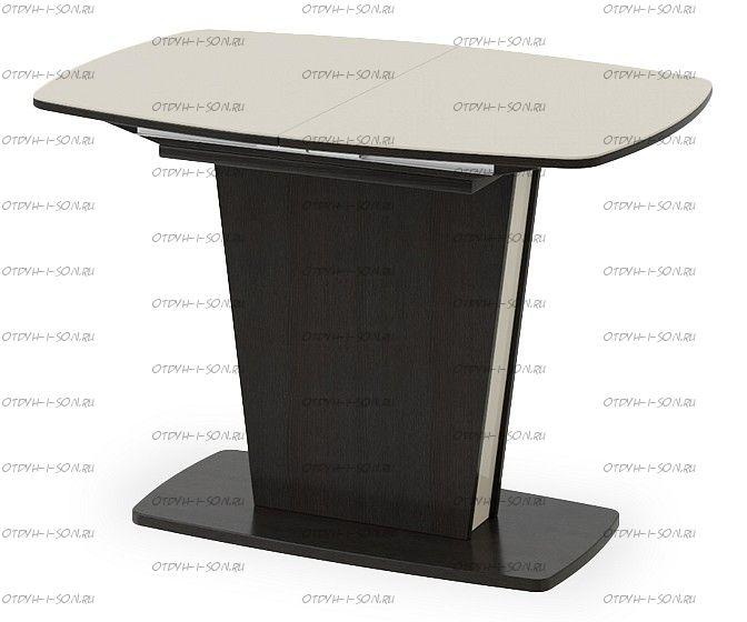Стол раздвижной Честер Тип 1 Дуб миланский/Стекло бежевое глянец