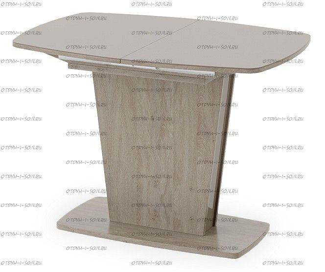 Стол раздвижной Честер Тип 1 Дуб сонома трюфель/Стекло коричневое глянец